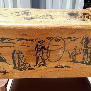 Vintage Cowboys & Indians Chest Toy Box by Strand